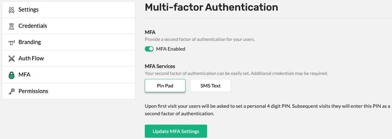 Configuring Pin Pad MFA
