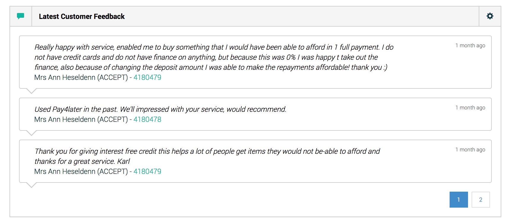Latest Customer Feedback widget