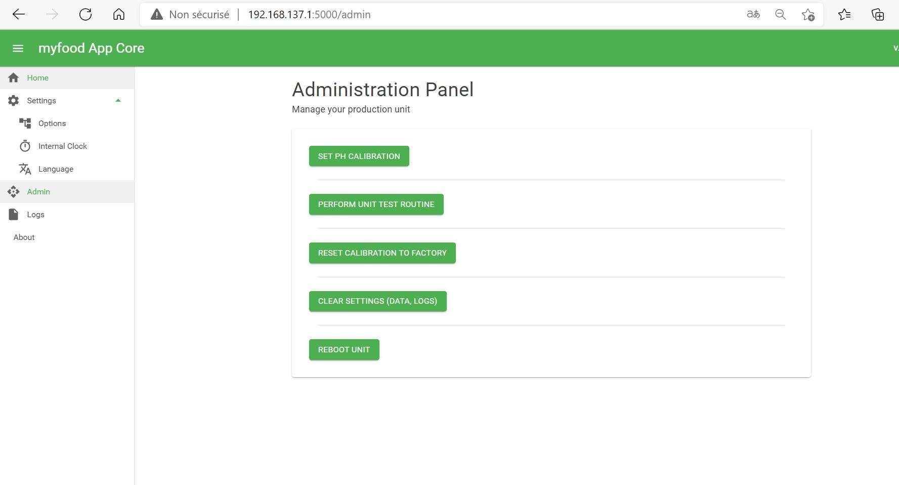 Administration technique de la serre en local sur l'interface http://192.168.137.1:5000
