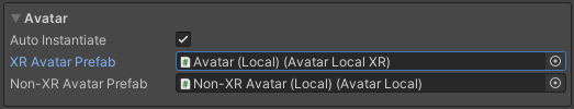 Avatar settings displaying auto instantiate options