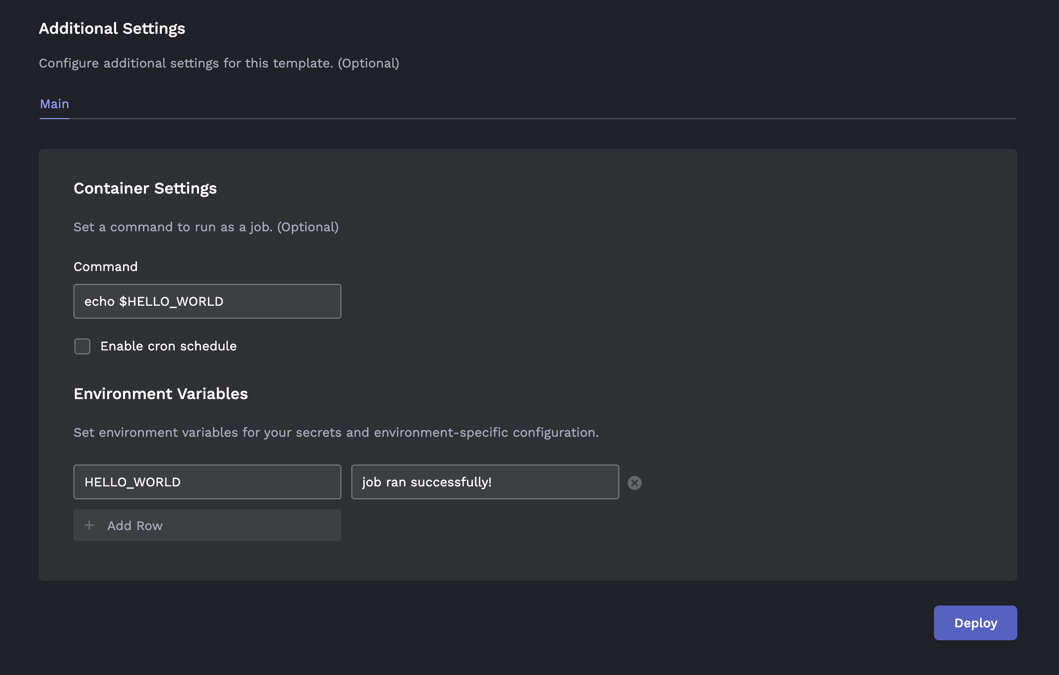 One-time job additional settings