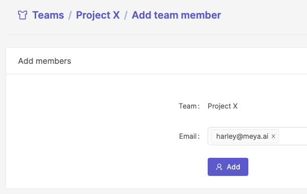 Select a user to add to the team.