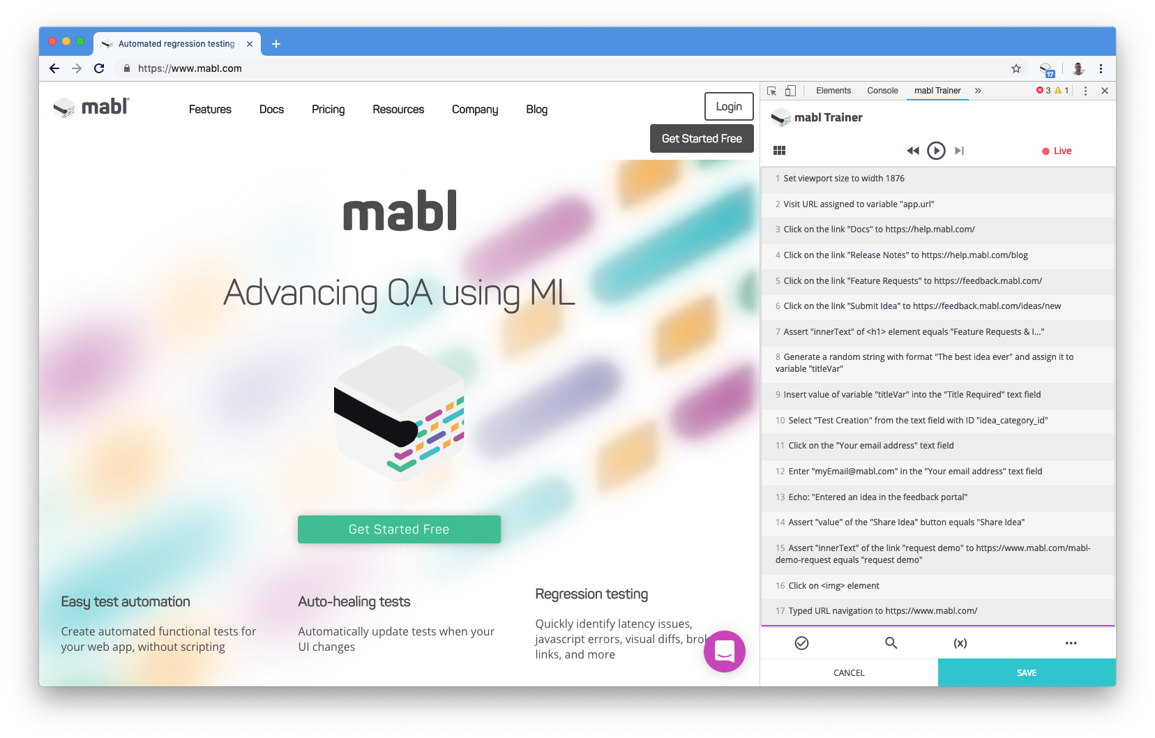 The mabl trainer expanded in DevTools.