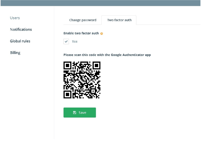 Enabling 2 Factor Authentication.