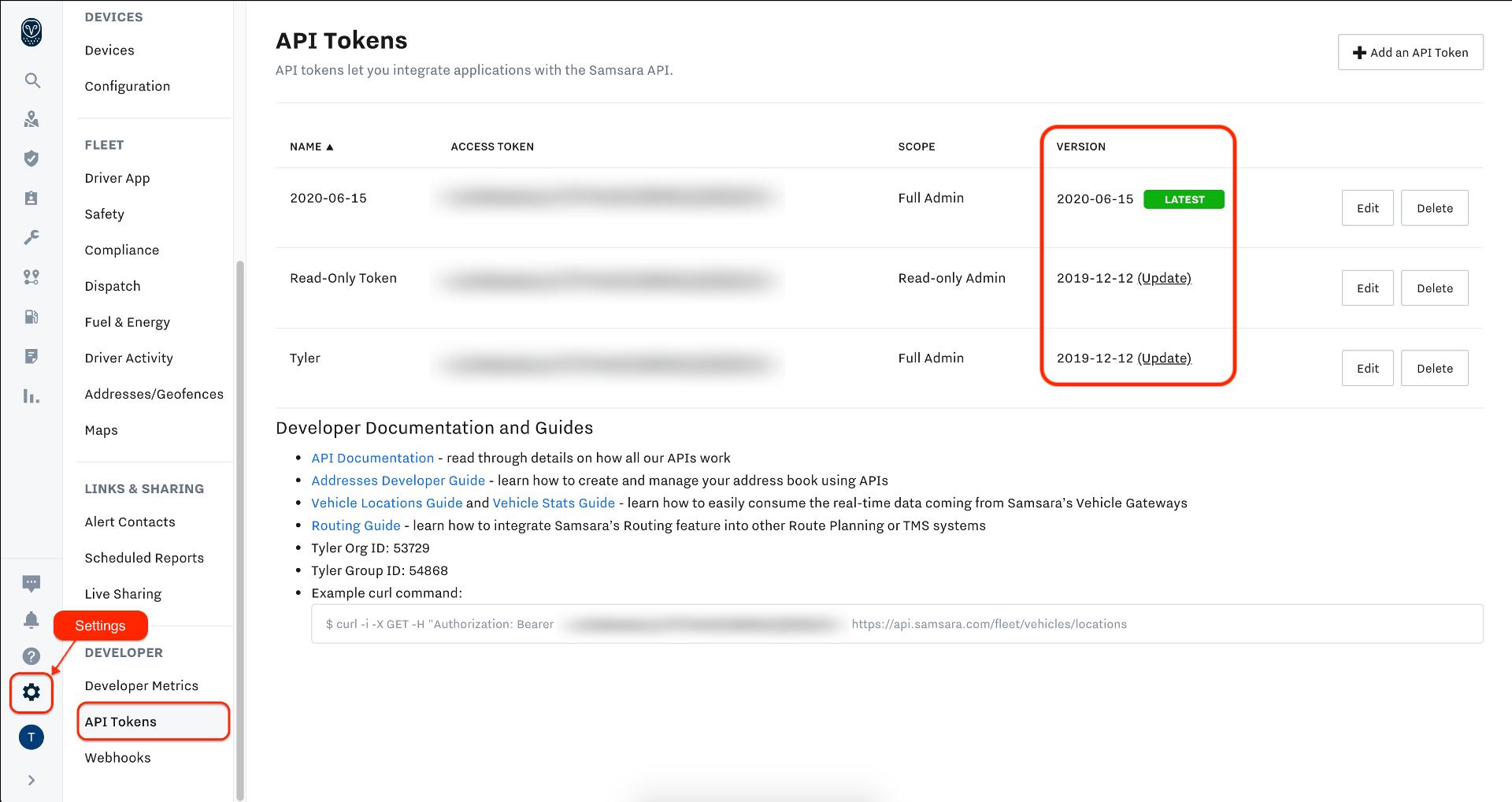 Cloud Dashboard -> Settings -> API Tokens