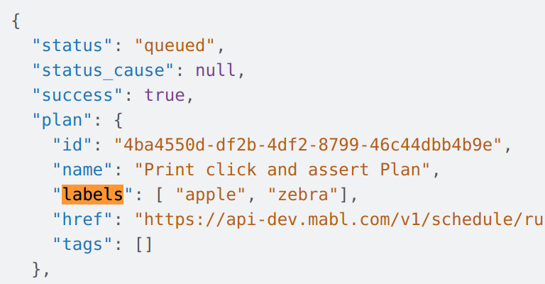 Labels available in webhook payloads