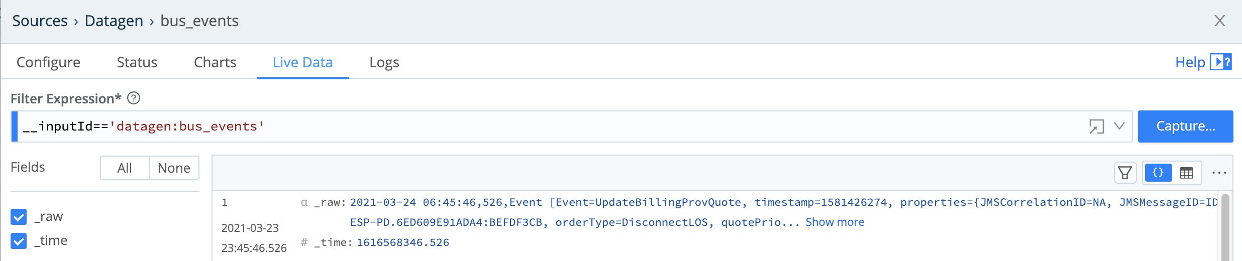 Source modal > Live Data tab