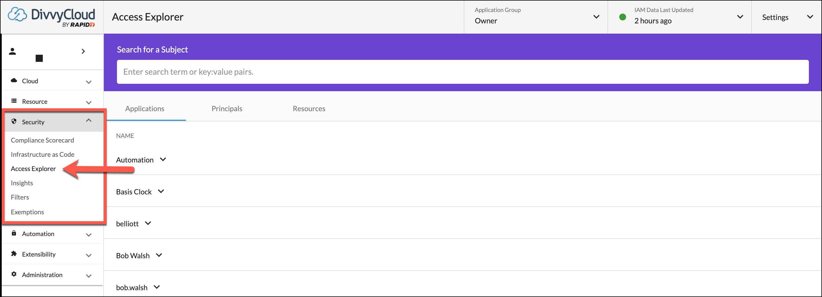 Access Explorer Landing Page