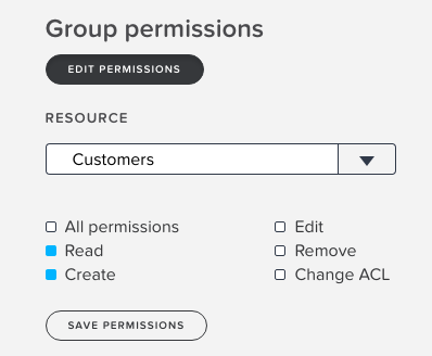 Setting a group permission for the **Customers** resource to have just Read and Create permissions.