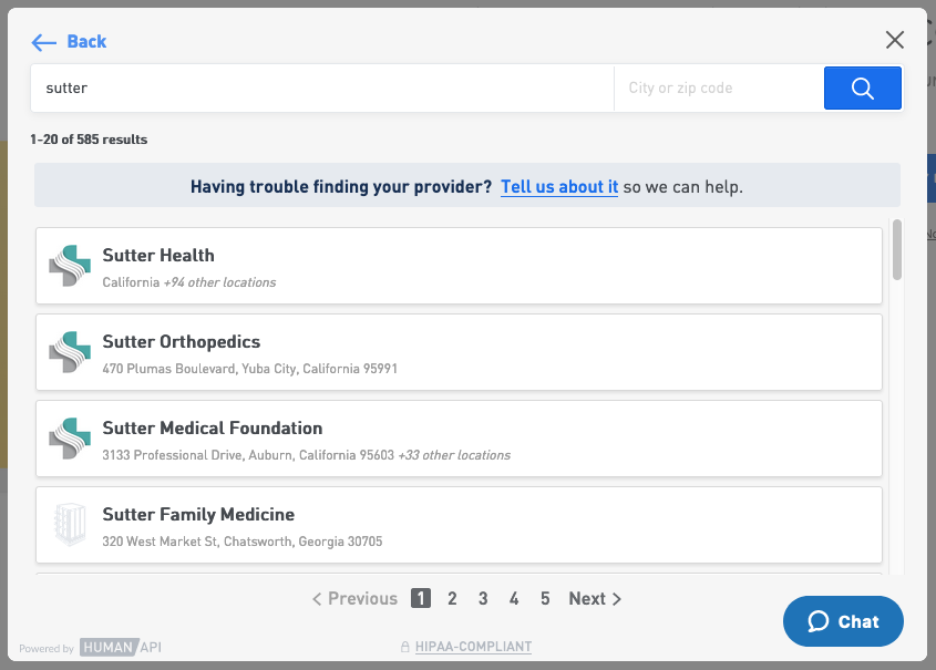 A user searching for their healthcare provider in Connect