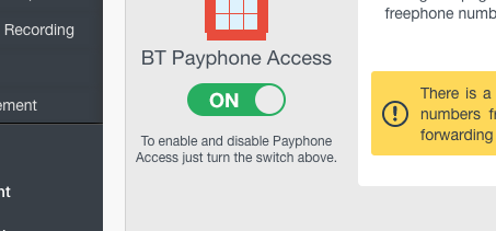 Turn on Payphone Access