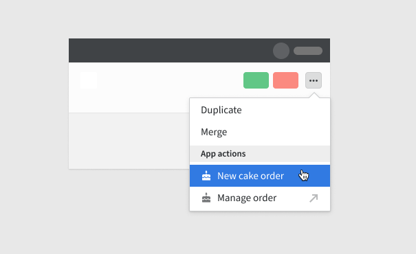 Embedded action can be also triggered from the three-dot actions menu