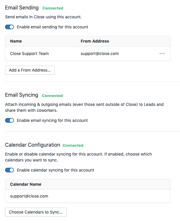 Successfully connected email account
