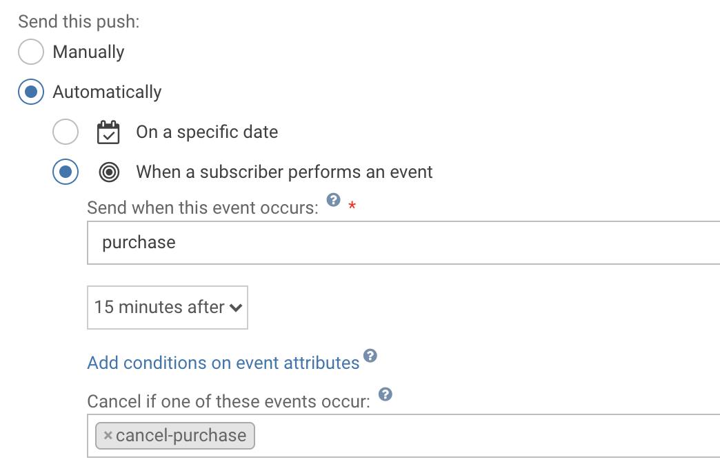 Example of a push notification programmed to be sent 15 minutes after users make a purchase, unless they cancel their order.