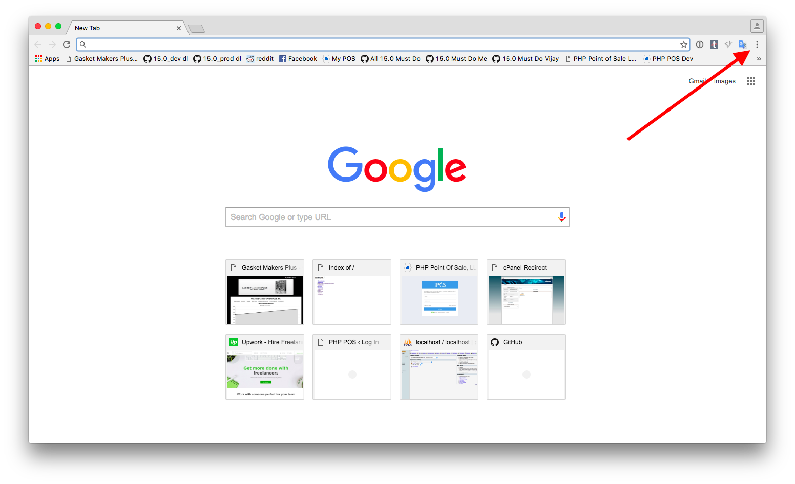 Chrome menu