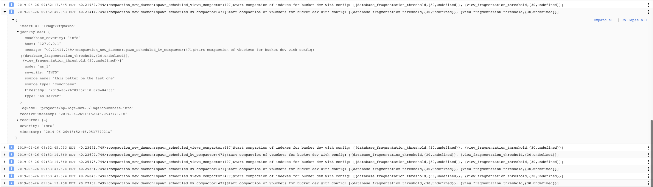 Couchbase Information Logs Example