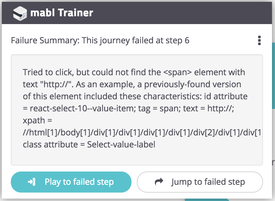 Failure Summary shown in Trainer