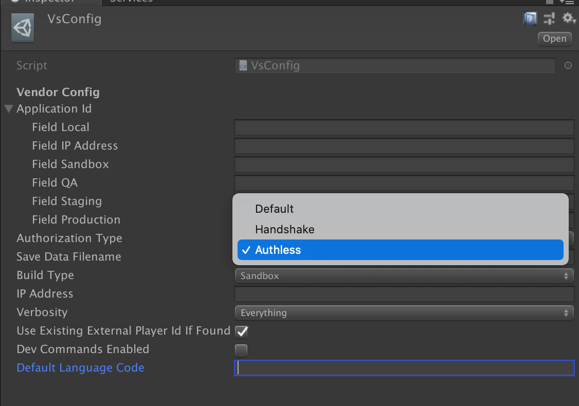 Authorization Type can be toggled in the Editor via **VsConfig**.