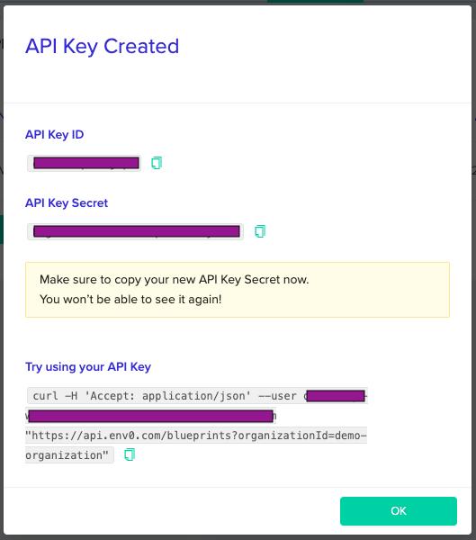 API Key Created Modal