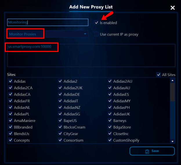 AIO Bot monitoring proxies setup