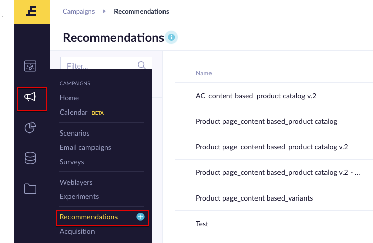Navigation bar to the Recommendations module.