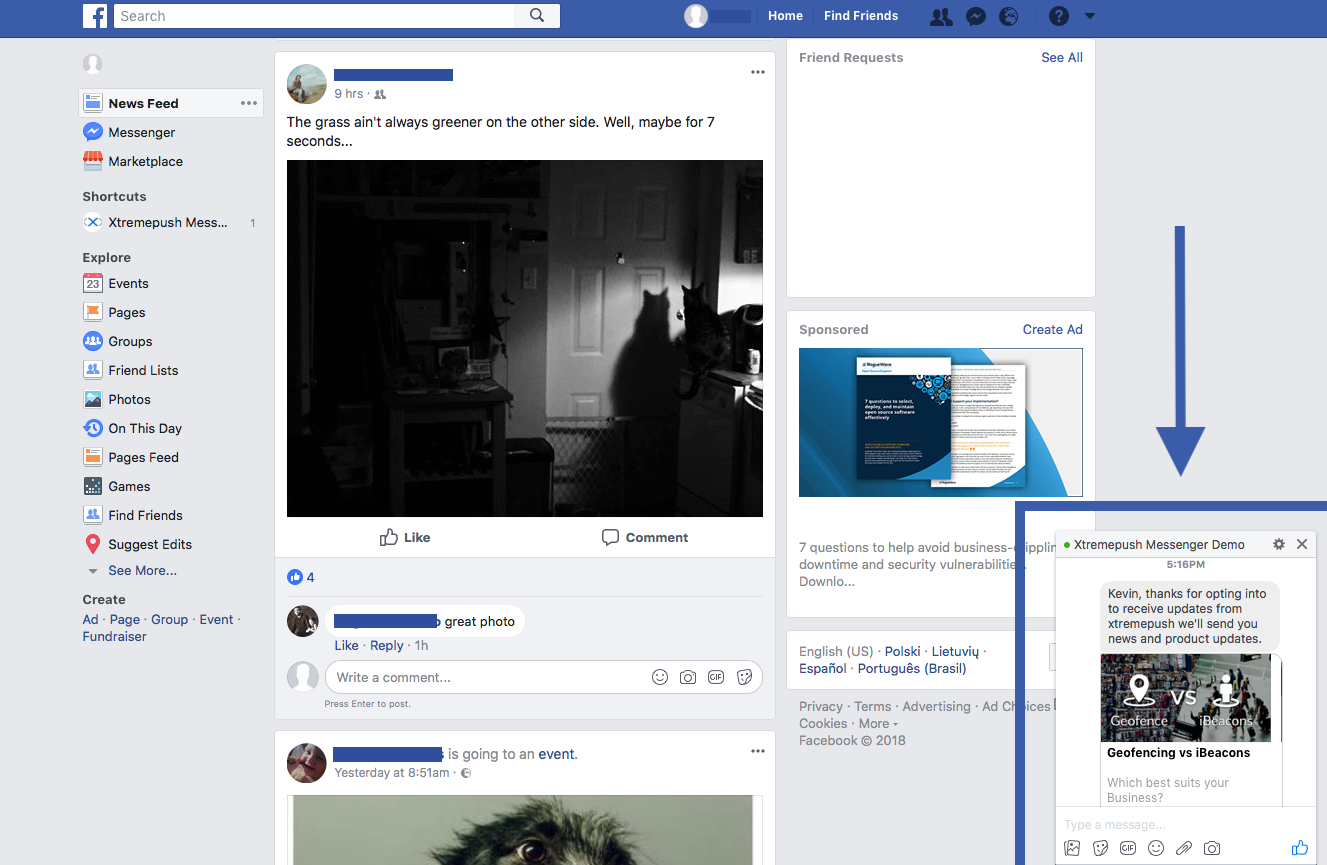 Web view of Facebook rich message