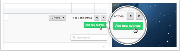 Click 'Add new address' and enter the address details