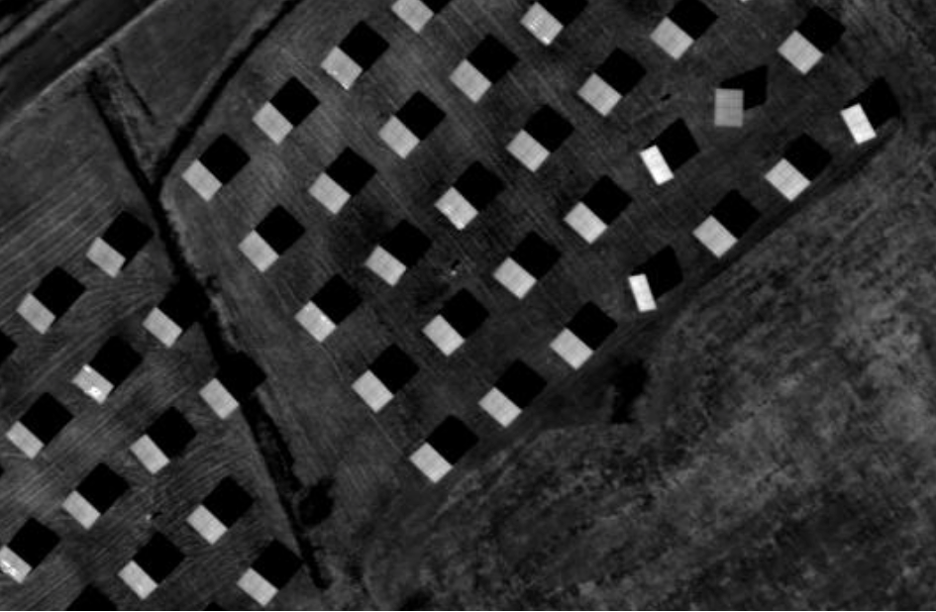 Example of solar array mounted on dual-axis trackers shown in greyscale infrared.