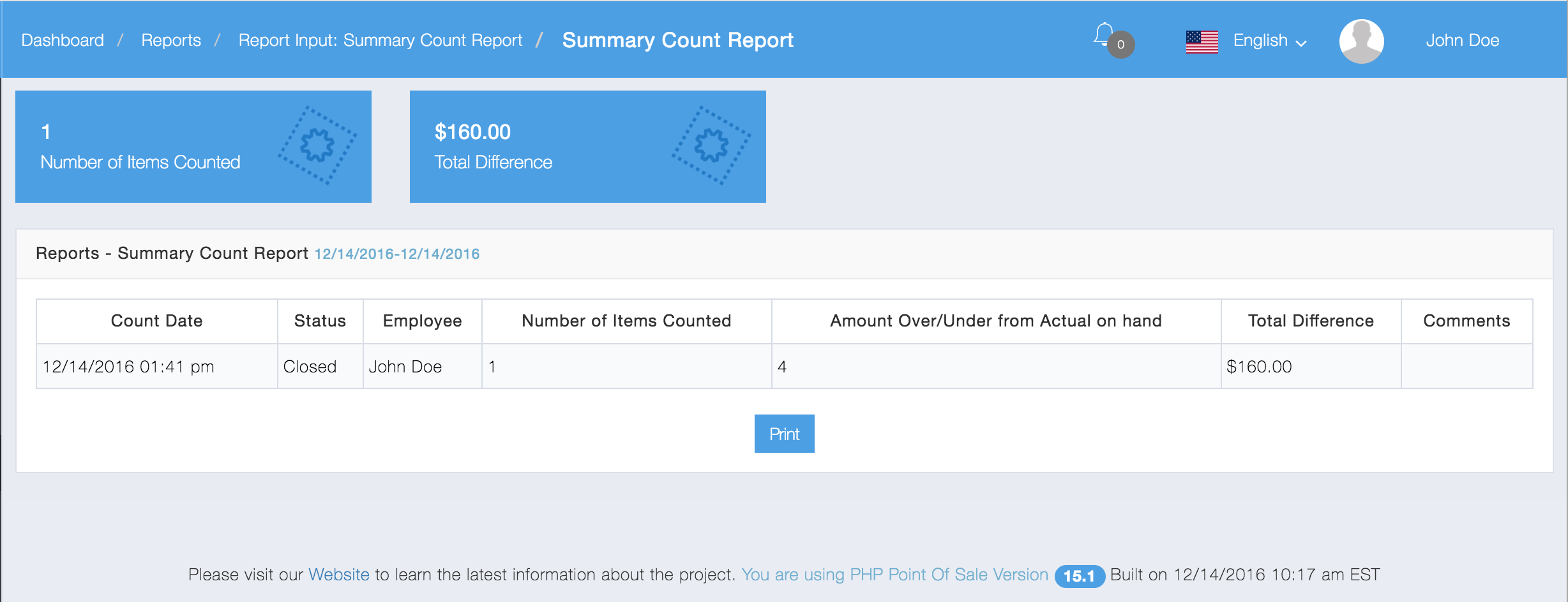 Summary Count Report