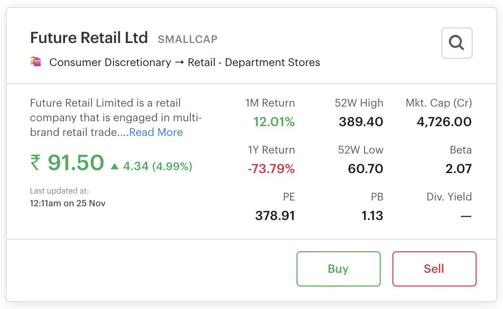 Sample screenshot of stock card (big)