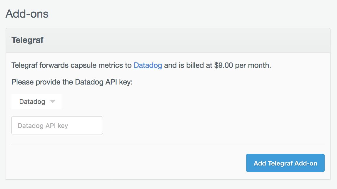 Compose Add-ons panel to set up Datadog.