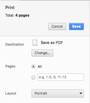 Instead of selecting a printer, select the `Save as PDF` option to download your PFD file.