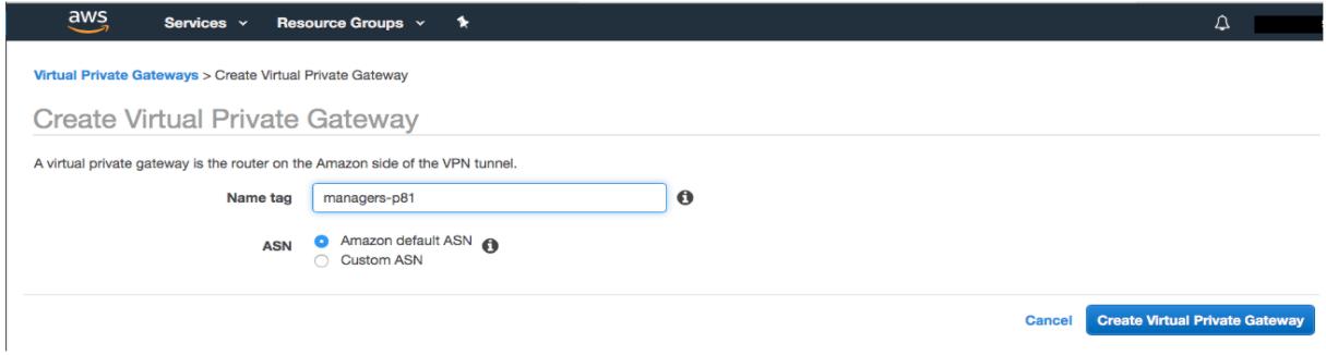 Create Virtual Private Gateway