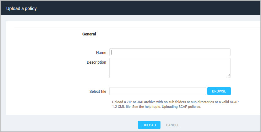 Uploading custom SCAP policies