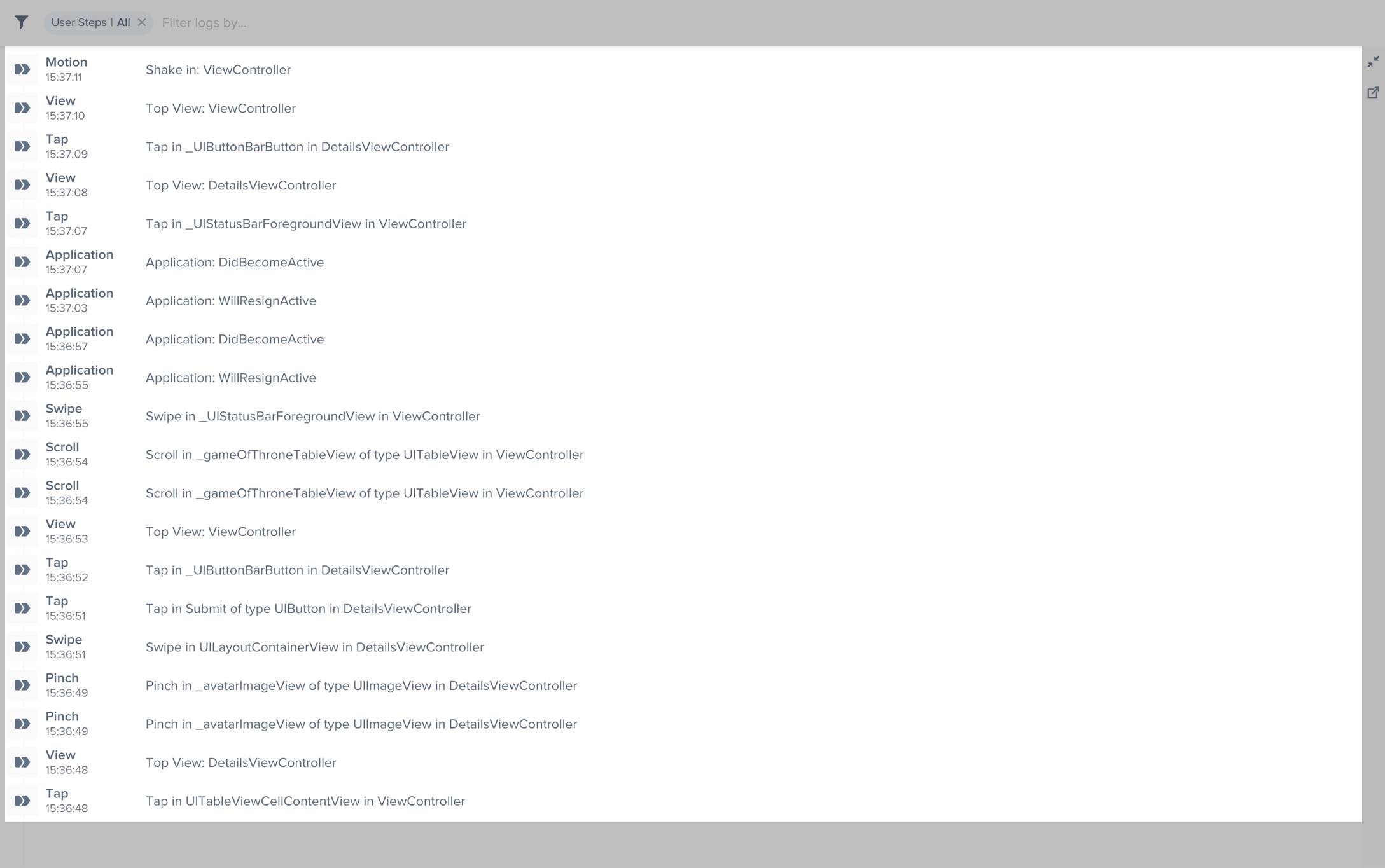 An example of the expanded logs view filtered by User Steps.