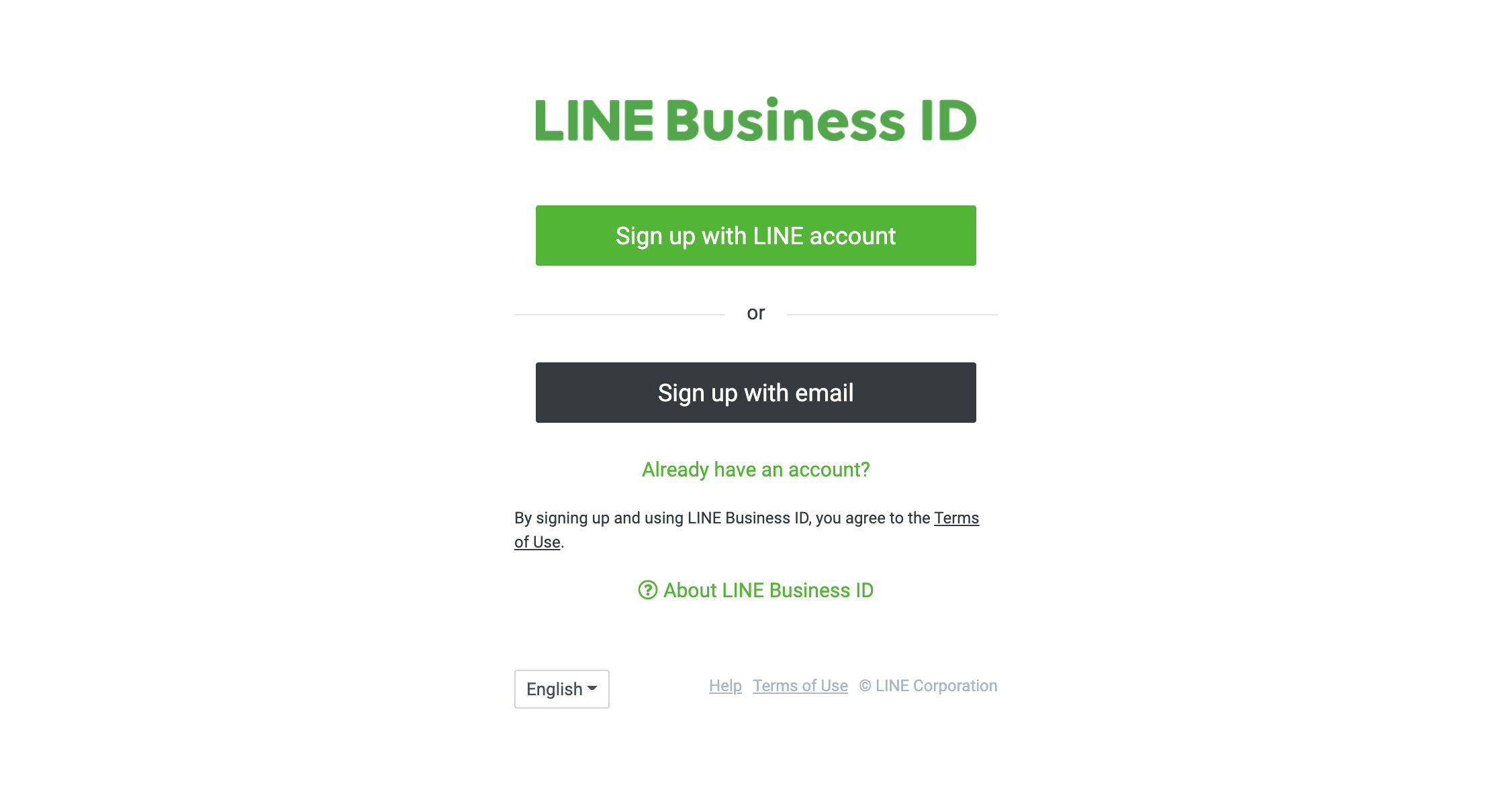Sign up for LINE Business ID