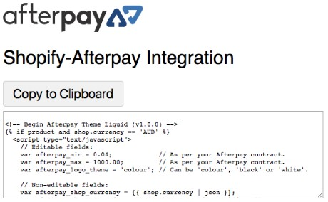 Afterpay Product Page Display