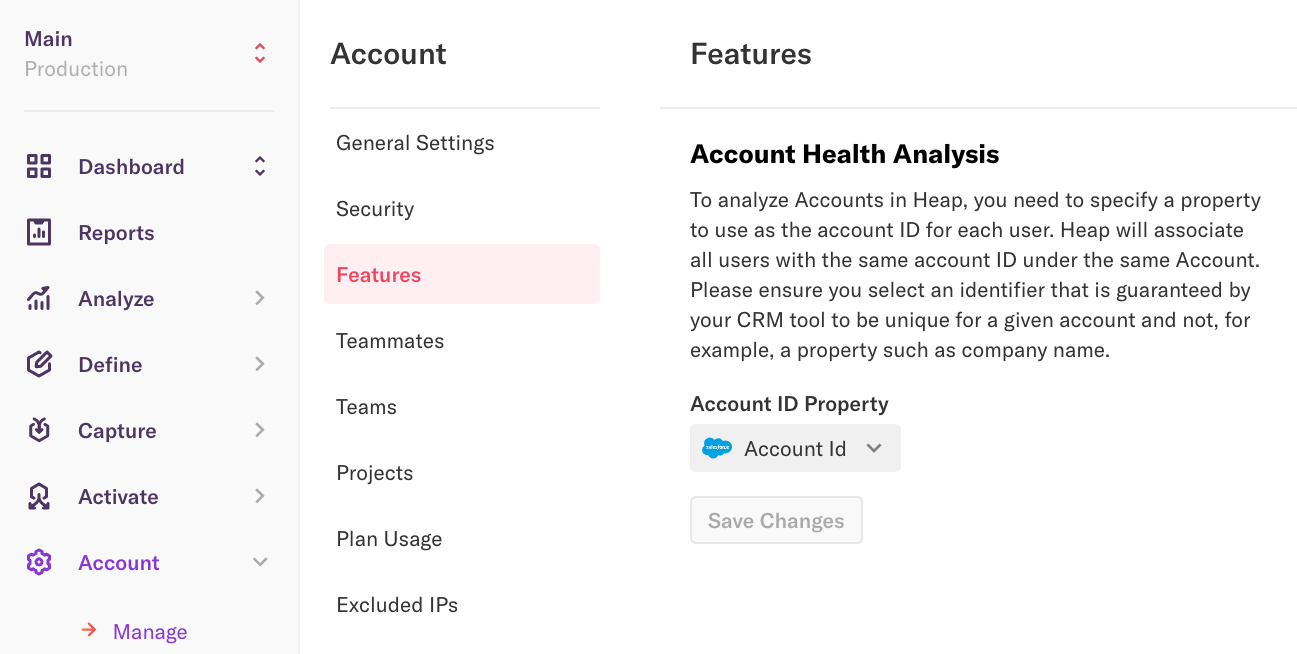 The Account Health Analysis page in Heap