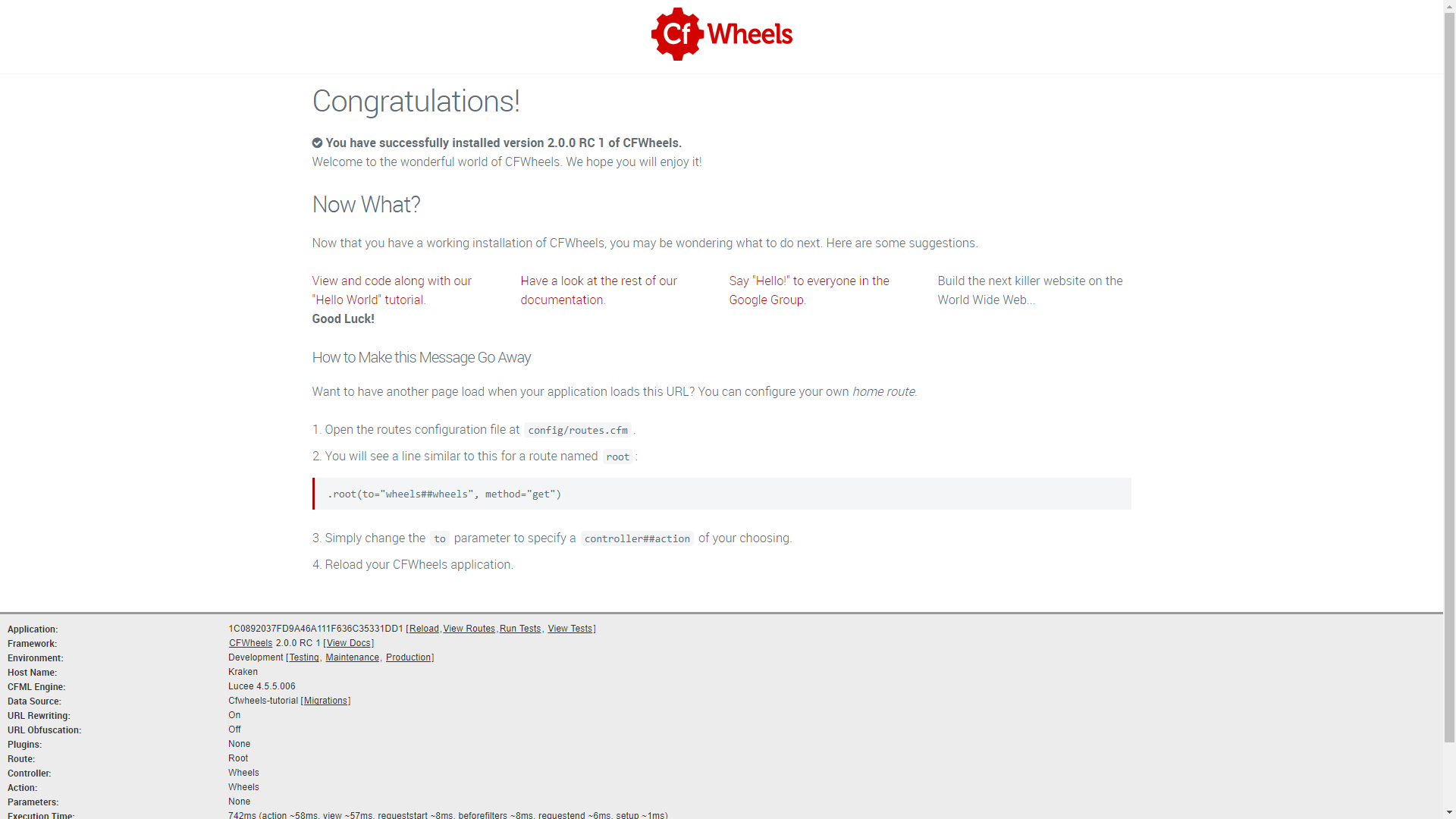 Figure 1: Wheels congratulations screen
