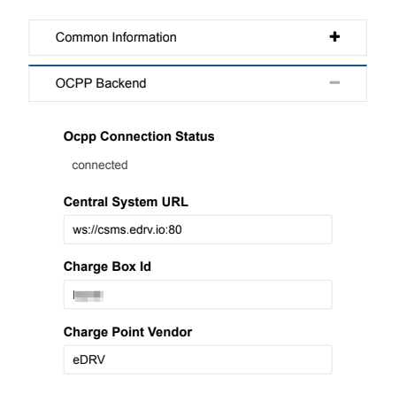 Image from Phihong's web based charge station connection utility.