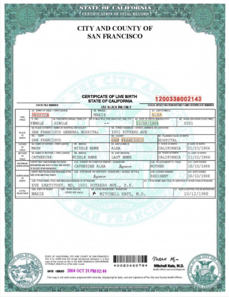 Birth certificate key data extraction