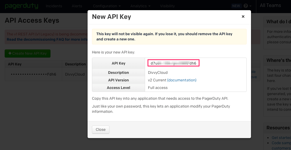 Generating PagerDuty's API Access Key
