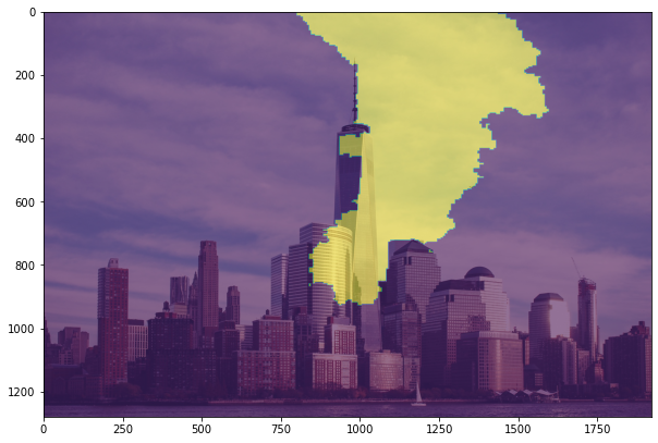 New York City skyline with a mask explaining which pixels were used by this model to classify the image