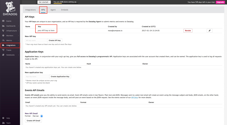 Where to find the Datadog API key.