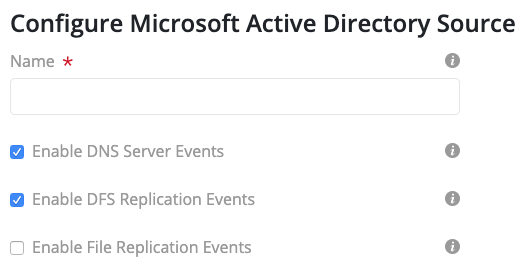 MS Active Directory Log Configuration Form