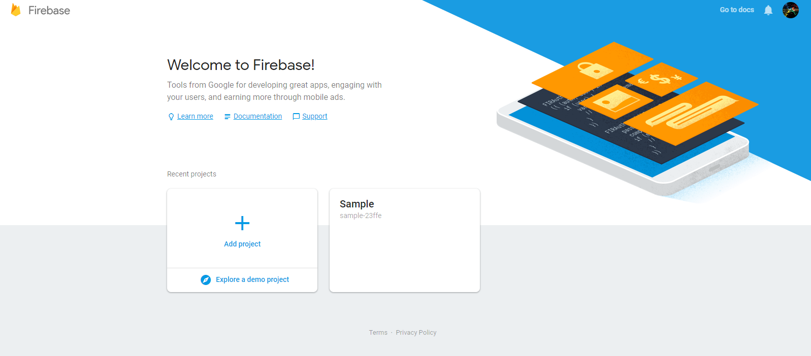 Figure 3: Welcome to Firebase