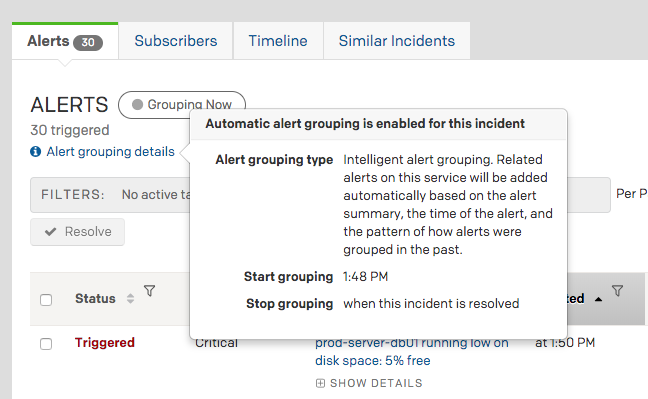 (2) Alert grouping details indicating Intelligent Alert Grouping is enabled