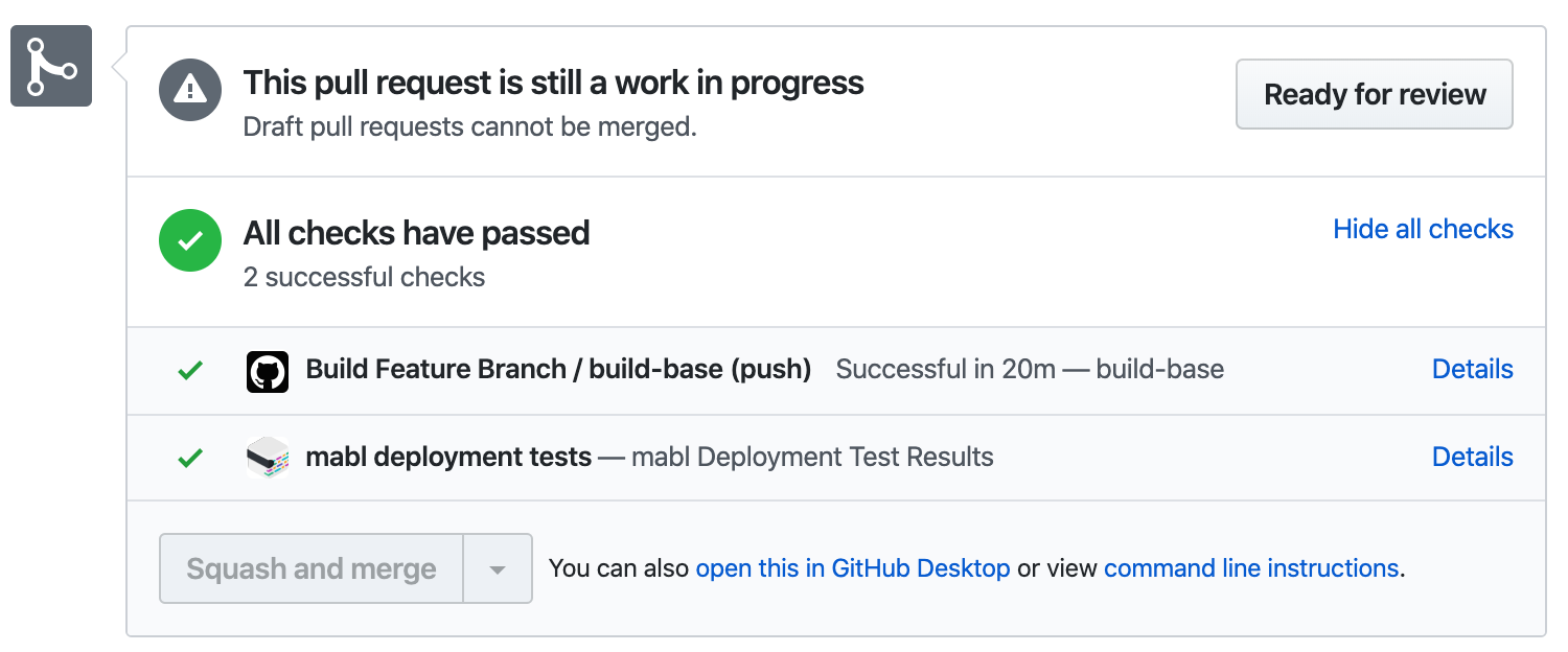 mabl test results shown as a GitHub PR check.