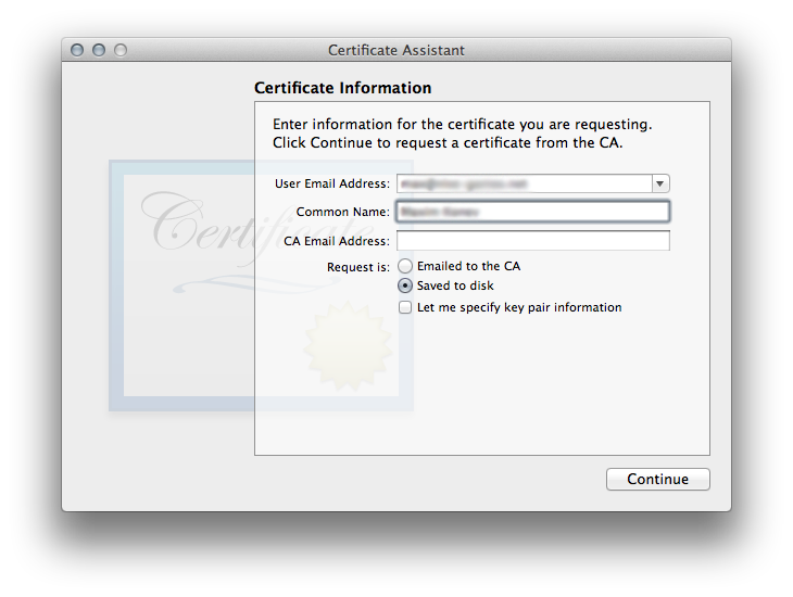 Figure 2. Saving the certificate request to disk
