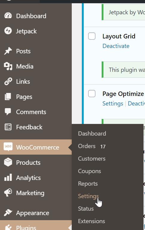 WooCommerce Plugin Settings